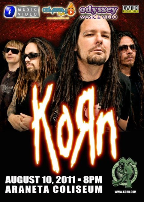 Korn (Jonathan Davis, Fieldy, Munky, and the guy who isn't David Silveria)